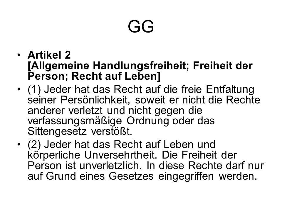 GG Artikel 2 [Allgemeine Handlungsfreiheit; Freiheit der Person; Recht auf Leben]